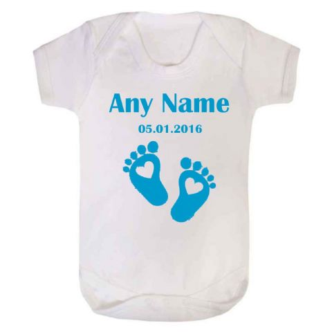 Newborn Feet Baby Vest/Bodysuit - Blue or Pink